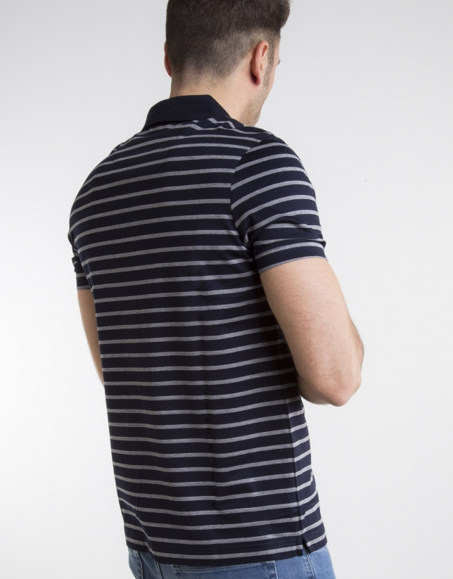 Navy blue and ivory striped polo