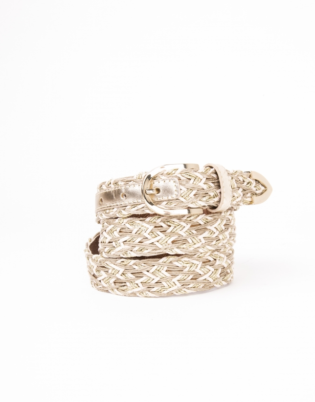 Beige braided leather belt