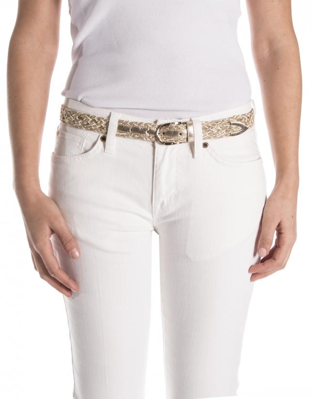Cinturón piel trenzada beige