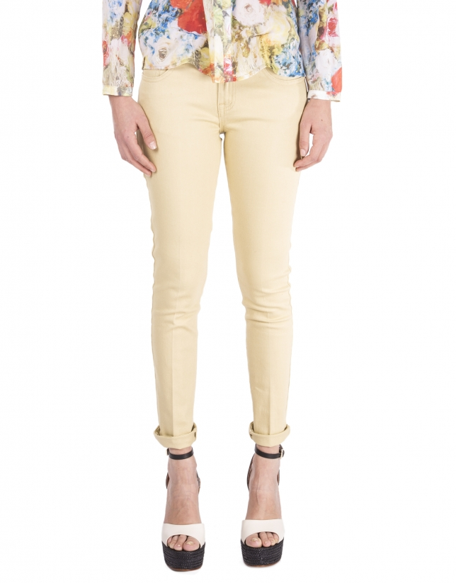 Pantalón recto amarillo