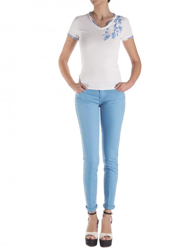 Pantalon droit bleu turquoise