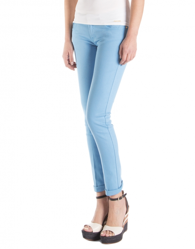 Turquoise blue straight pants