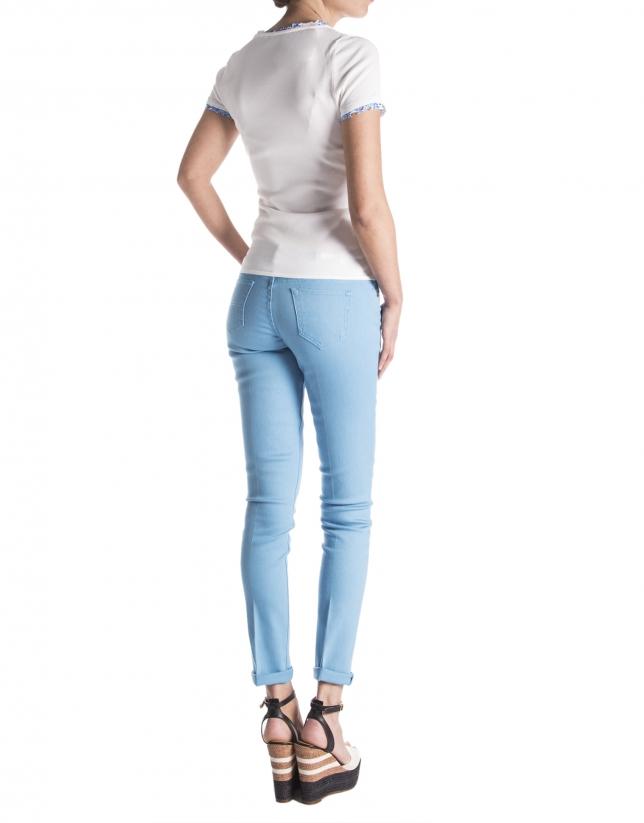Pantalón recto azul turquesa