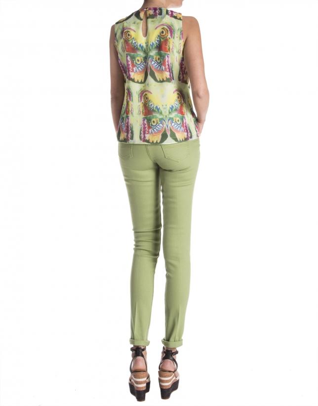 Pantalon droit vert
