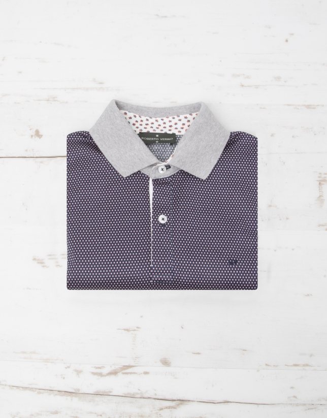 Navy blue polo with pink print
