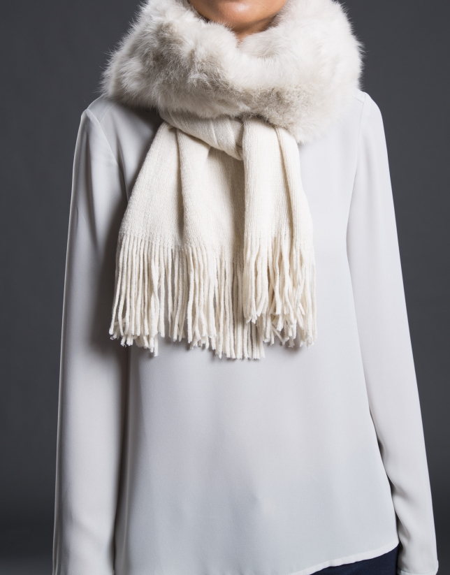 Off white rabbit fur scarf