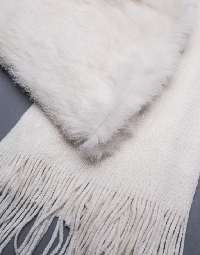 Bufanda crema pelo conejo