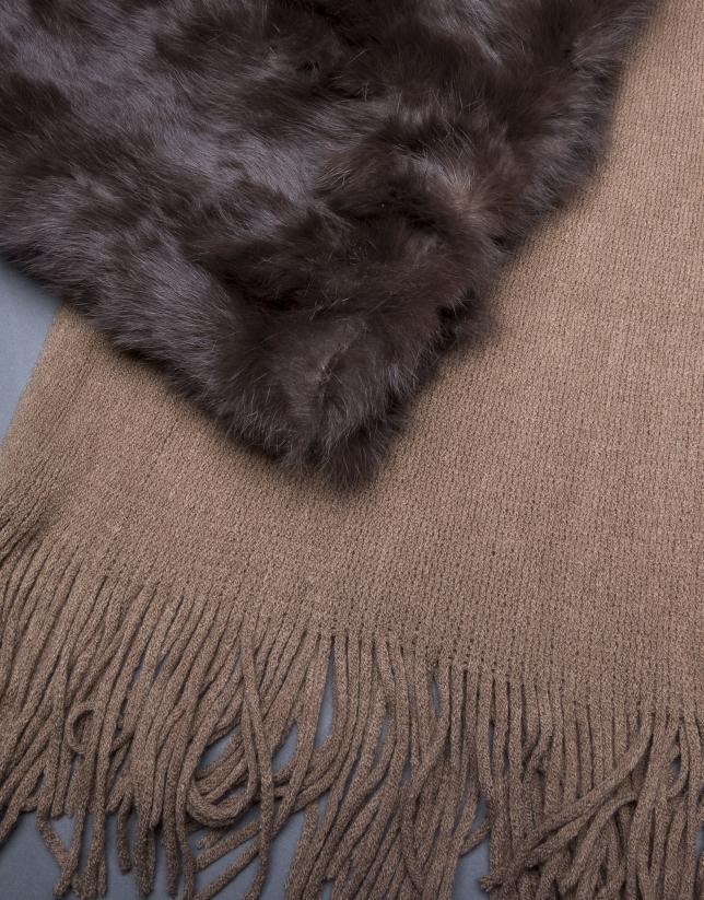 Brown rabbit fur scarf