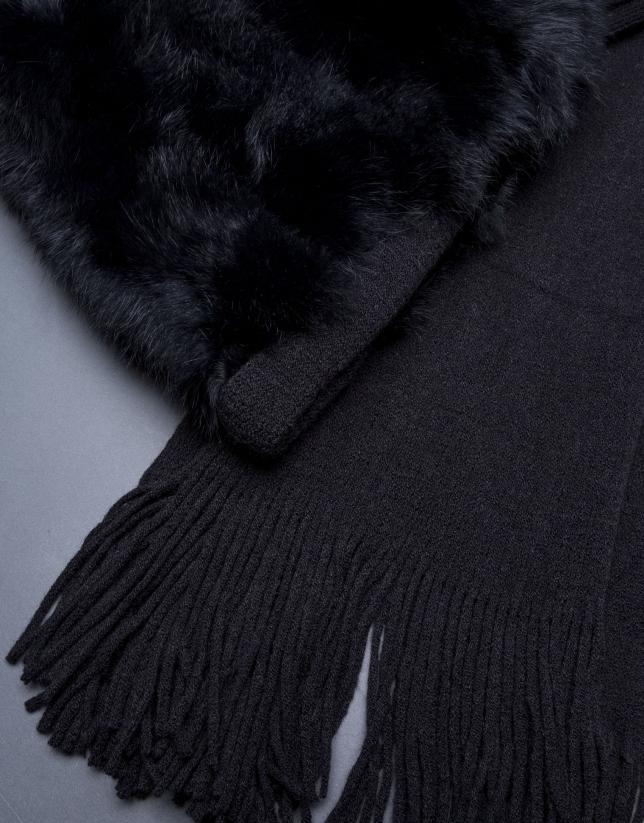Bufanda negra pelo conejo