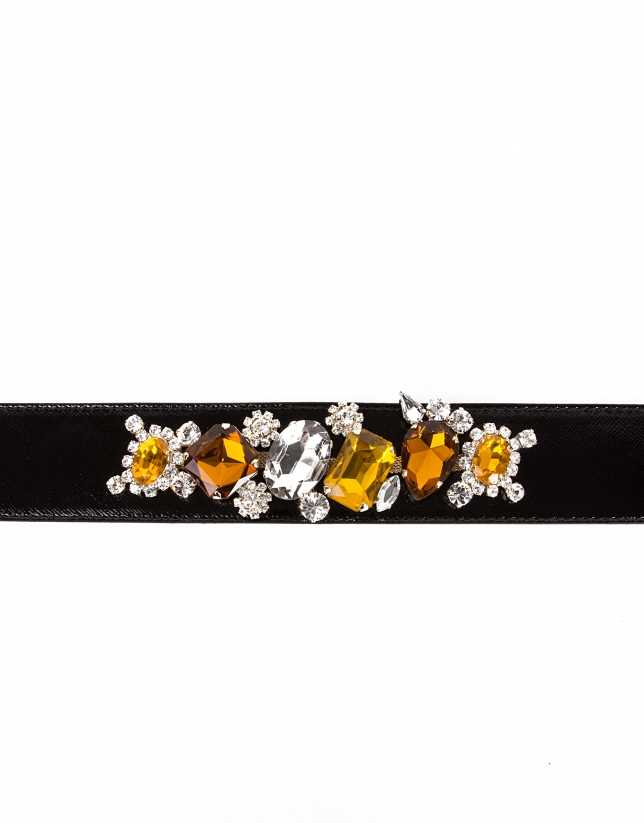 Black leather and beaded belt