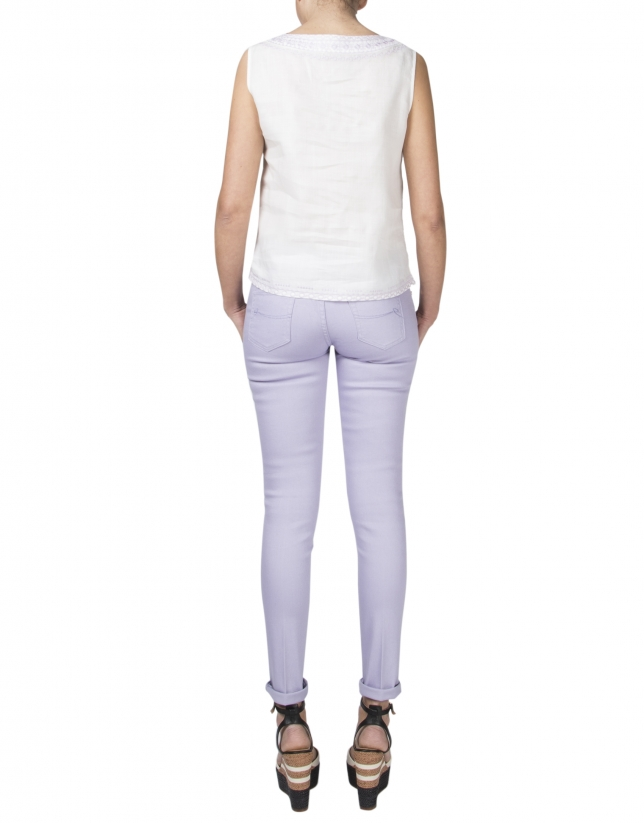 Pantalon droit lavande