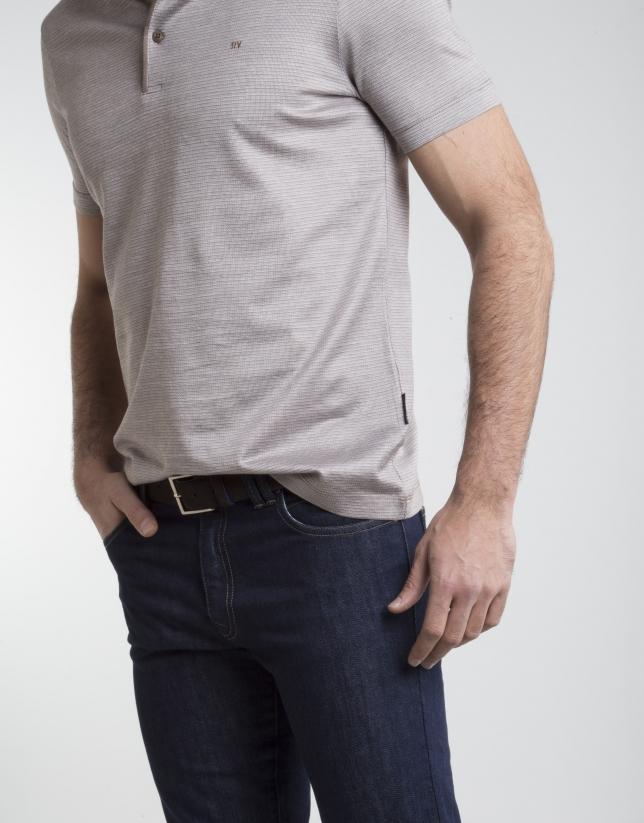 Polo à micromotif couleur vison/beige