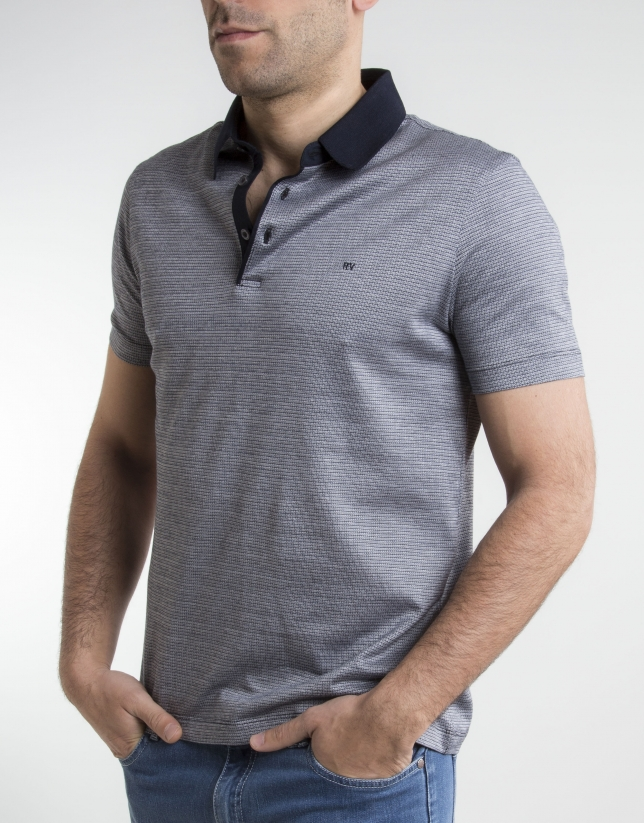 Navy blue /beige microprint polo