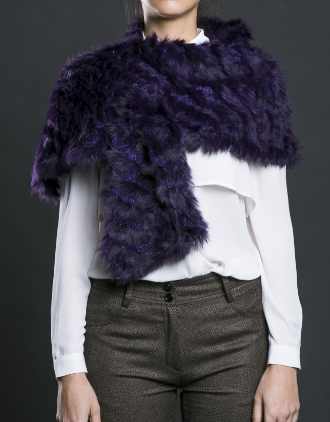Aubergine rabbit fur shawl