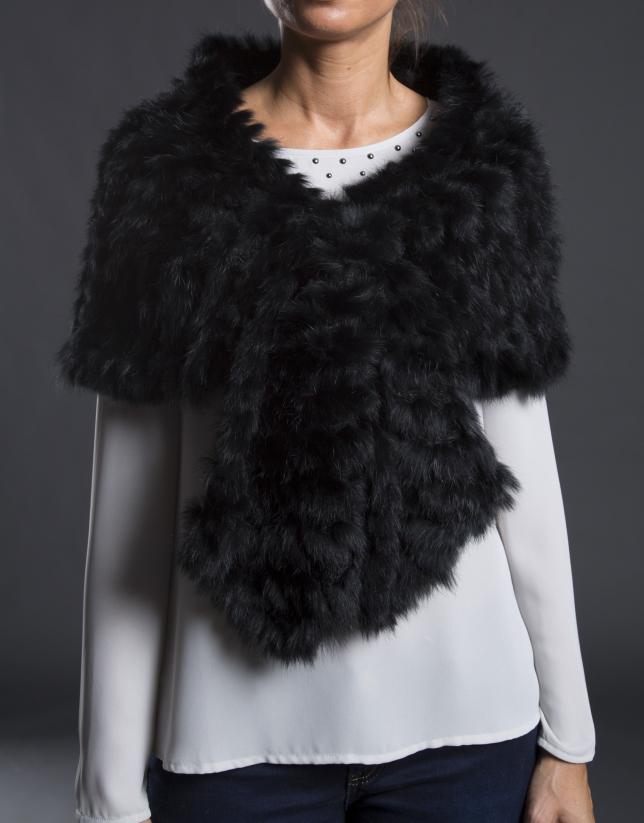 Black rabbit fur shawl