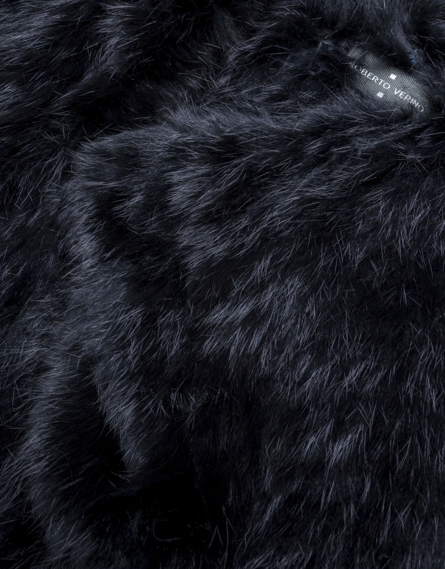 Châle fourrure lapin noir