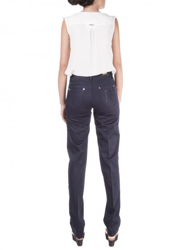 Pantalon droit bleu marine