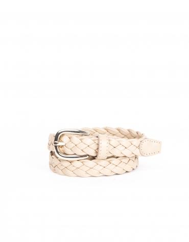 Cinturon piel trenzado piedra