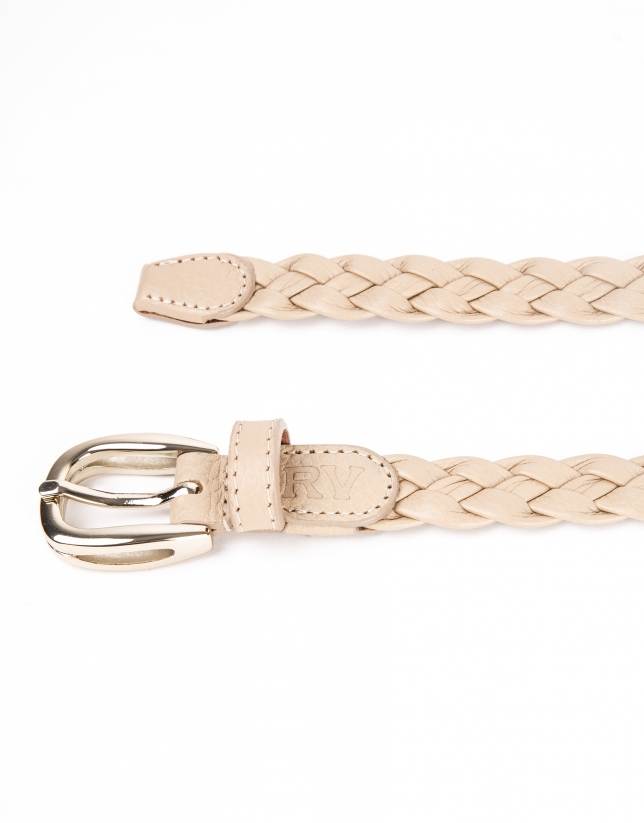 Stone colored, braided leather belt
