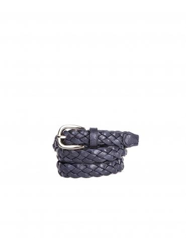 Navy blue braided leather belt