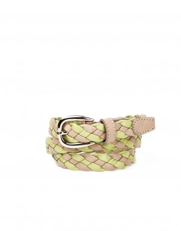 Cinturón piel trenzado verde