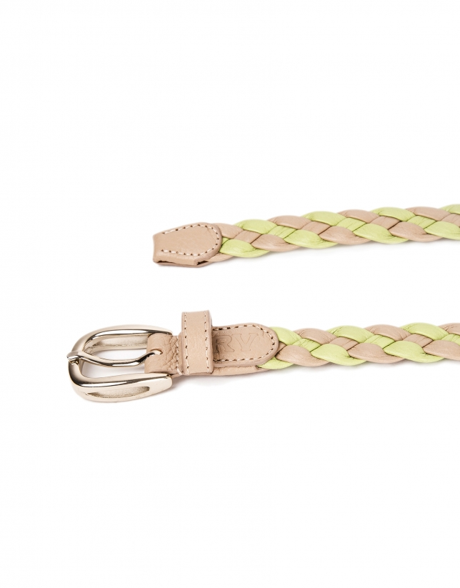 Green braided leather belt