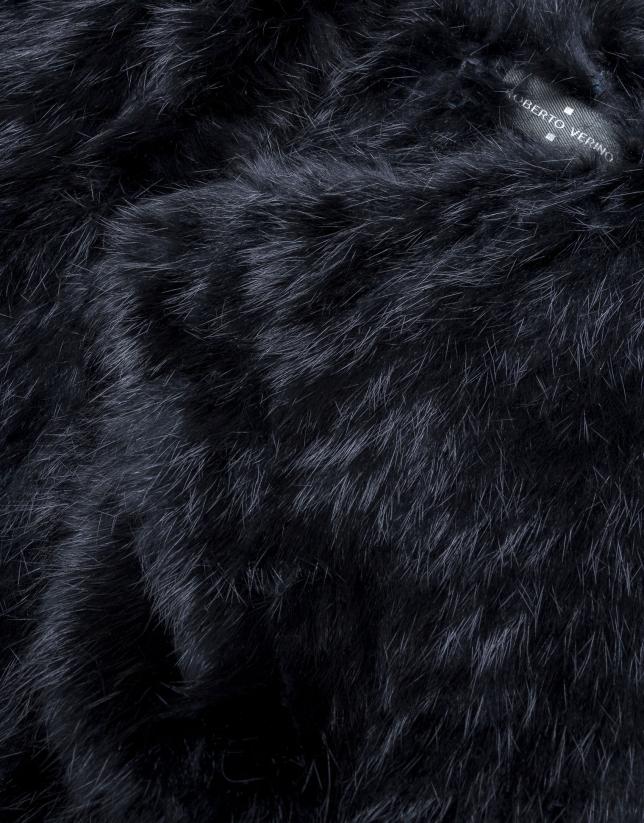 Boléro fourrure lapin noir