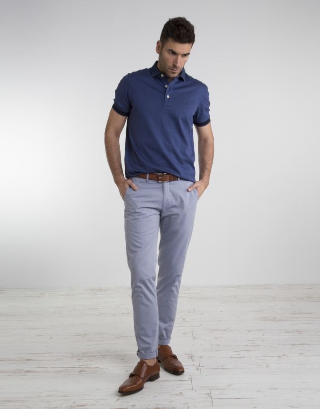 Navy blue polo with jean collar