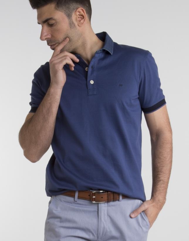 Polo bleu marine, col jean