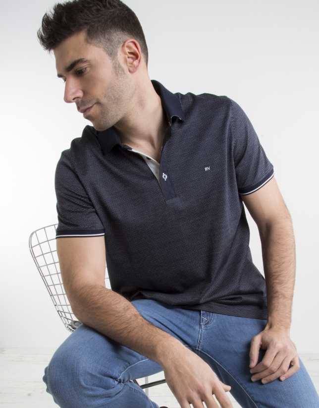 Navy blue polo with  microdots