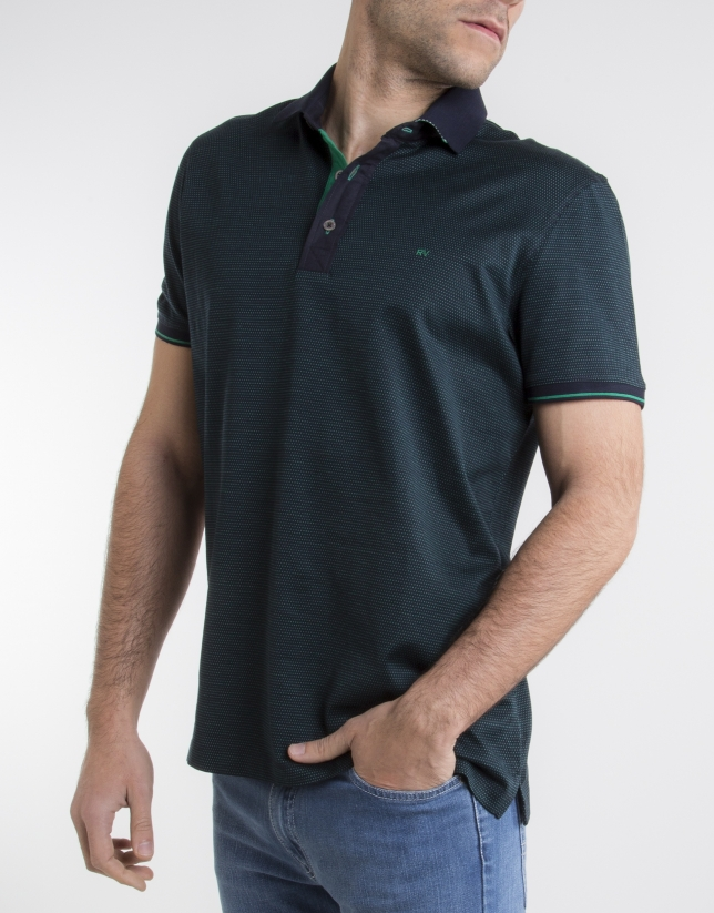Navy blue polo with green microdots