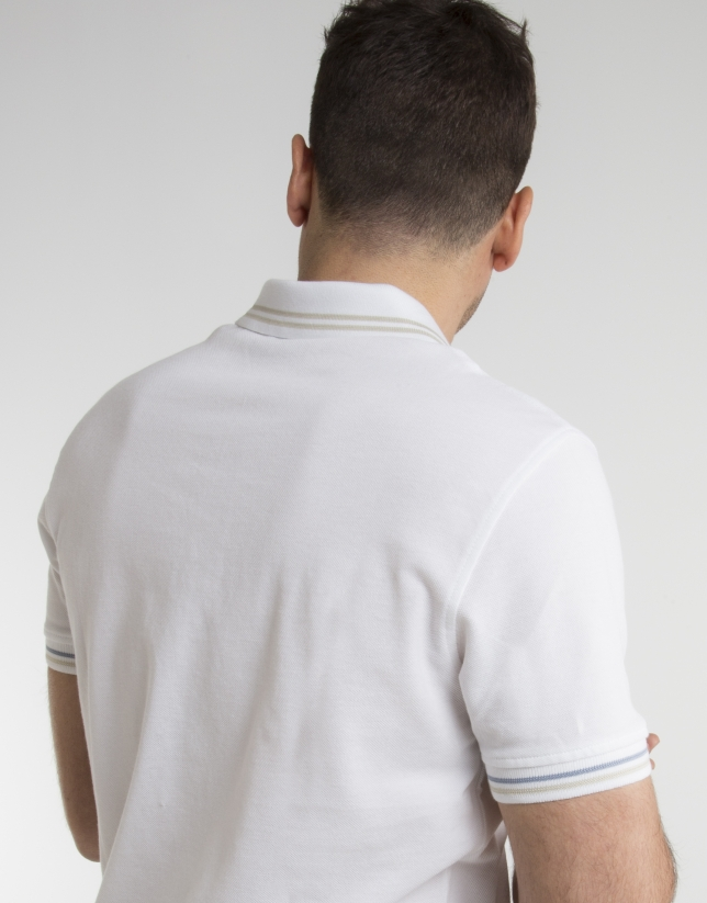 White pique polo with beige contrasts