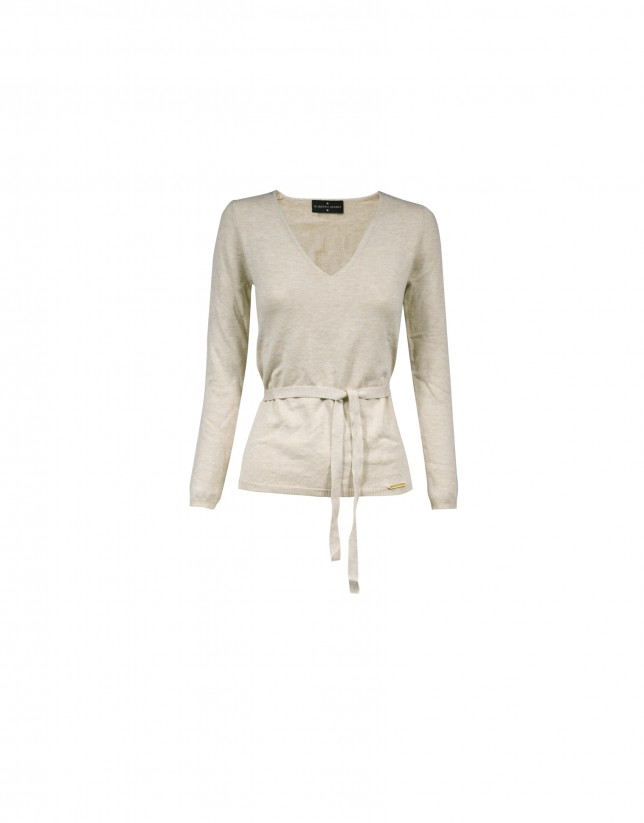 Deep v-neck long sleeve beige pullover