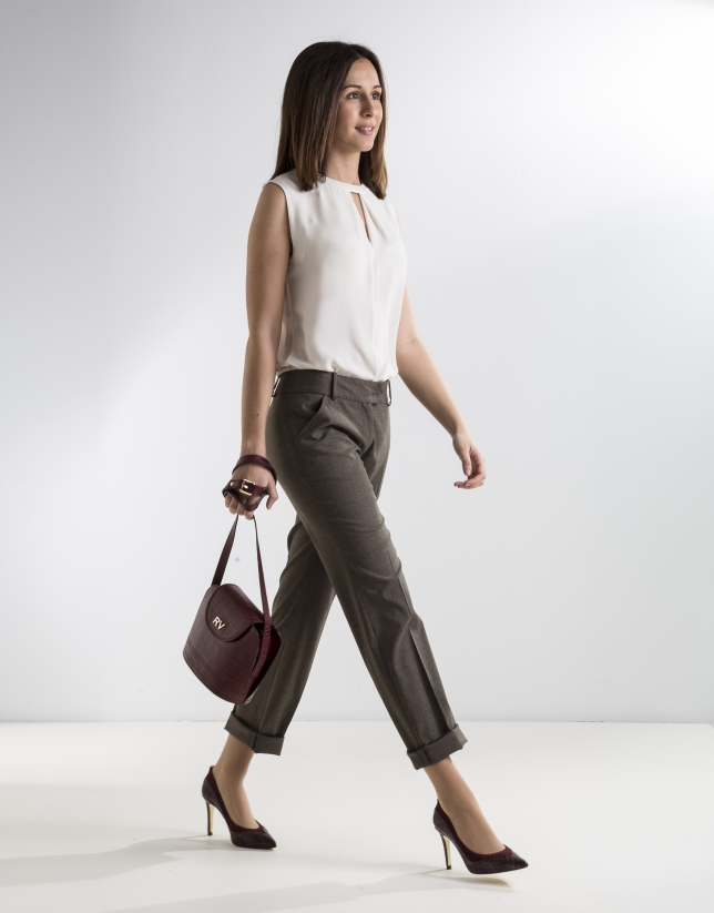 Pantalon fantaisie marron