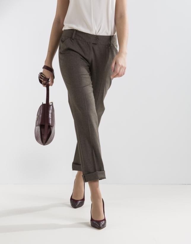 Brown print pants