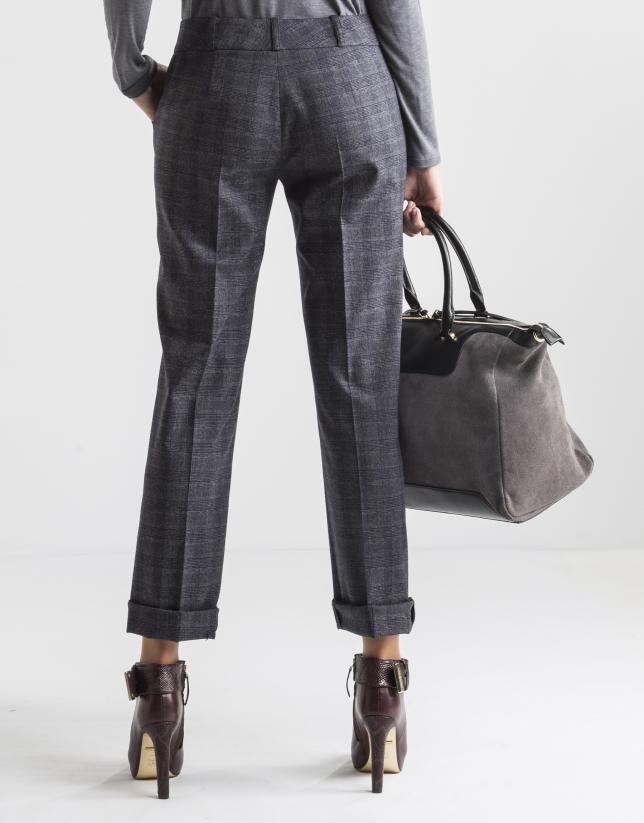 Pantalon à carreaux bleus