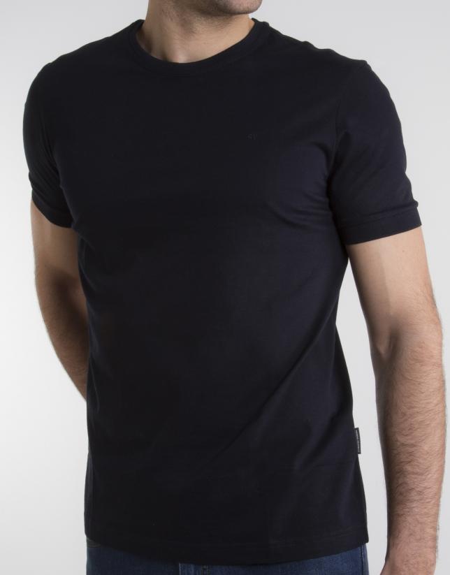 T-shirt col V bleu marine