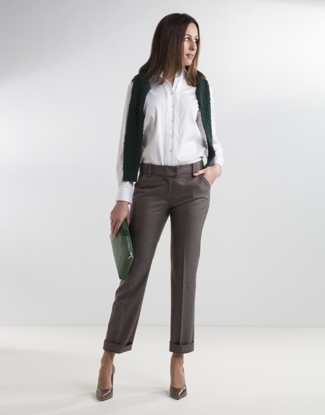 Pantalon carreaux fonc pantalons femme roberto verino for Pantalon a carreaux