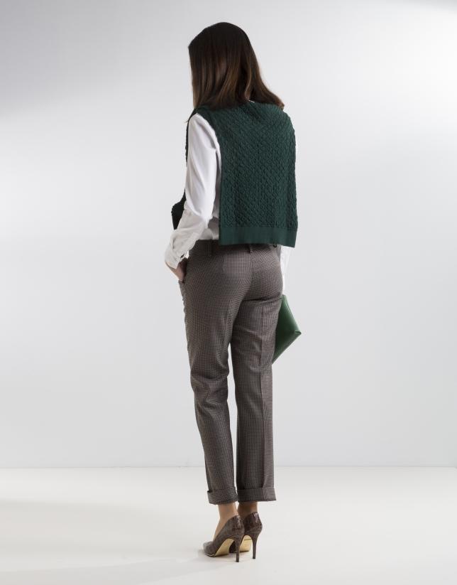 Pantalon à carreaux foncé