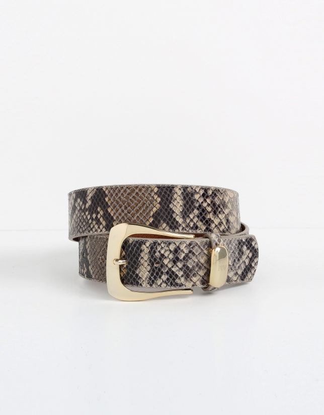 Beige python embossed leather belt