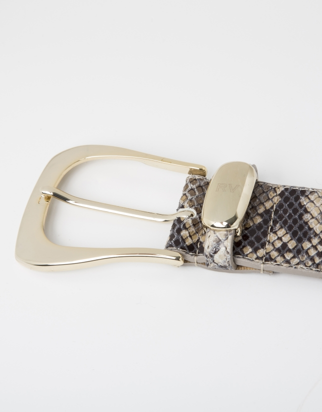 Beige python embossed leather belt