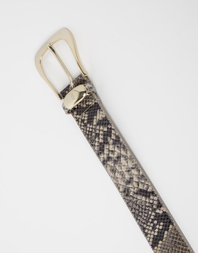 Ceinture beige en cuir imprimée python