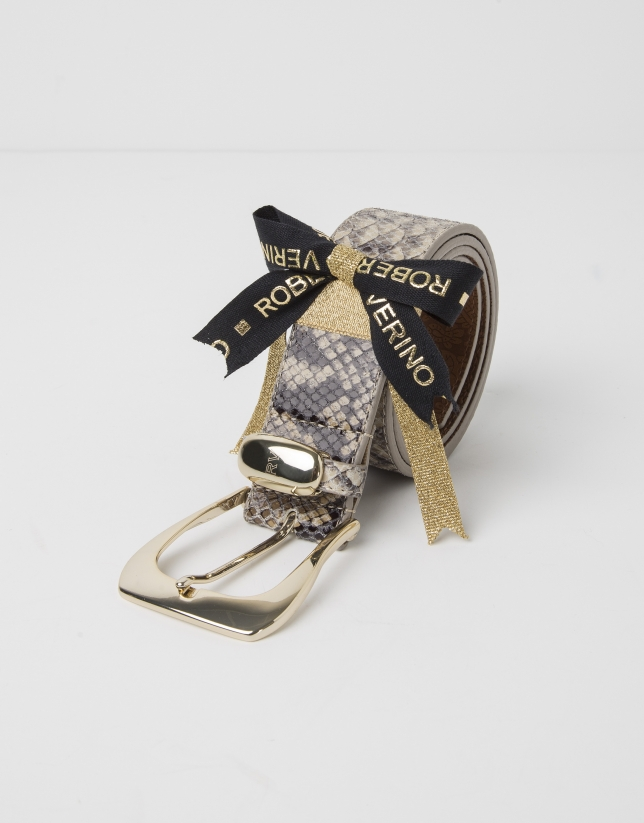 Cinturón piel grabada pitón beige