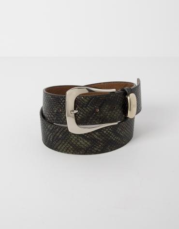 Cinturón piel grabada pitón verde