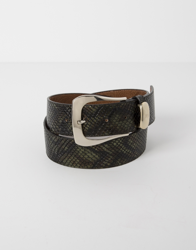 Green python embossed leather belt