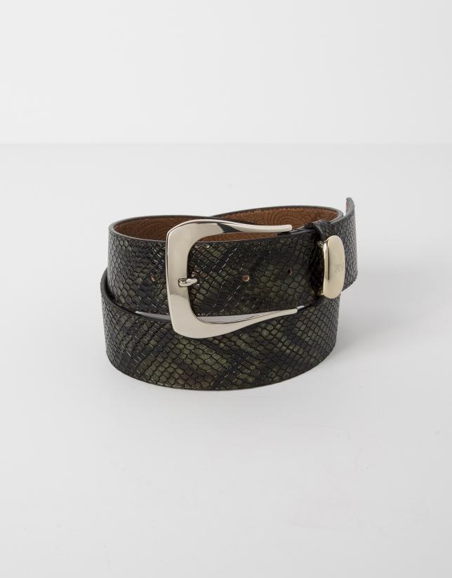 Green python embossed leather belt