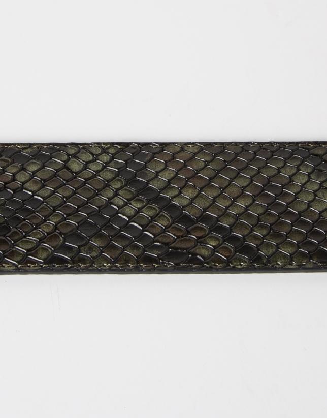 Ceinture verte en cuir imprimée python