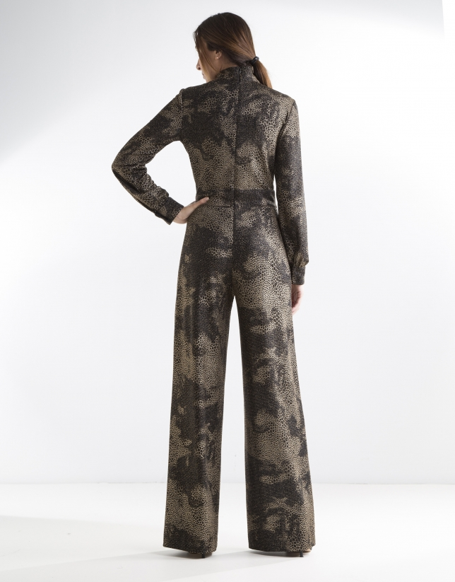 Print jumpsuit with glitter