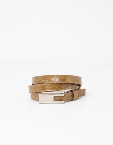 Cinturón piel mostaza