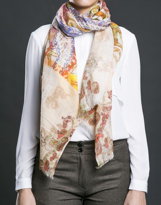 Arabesque print scarf